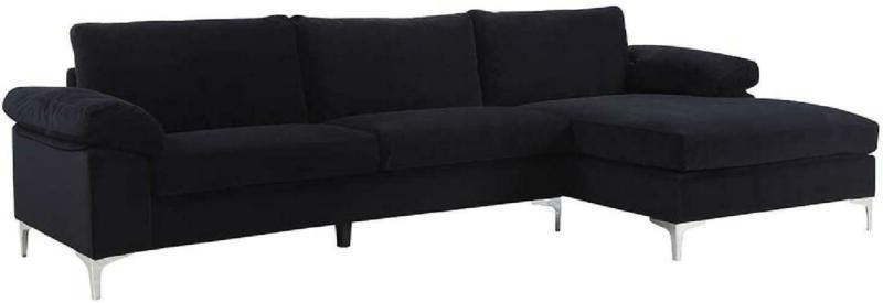 Modern Large Sectional Wide Lounge - Black