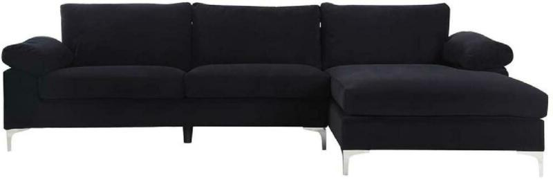 Modern Large Fabric Sectional with Wide Chaise Lounge
