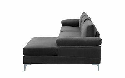 Modern Large Fabric Sectional Sofa, Wide