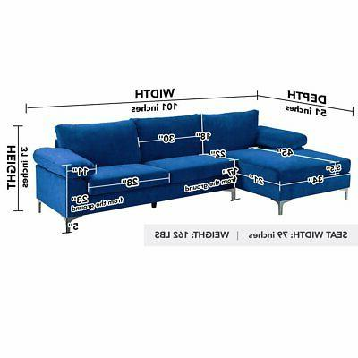 Modern Large Sofa, Couch Wide Navy