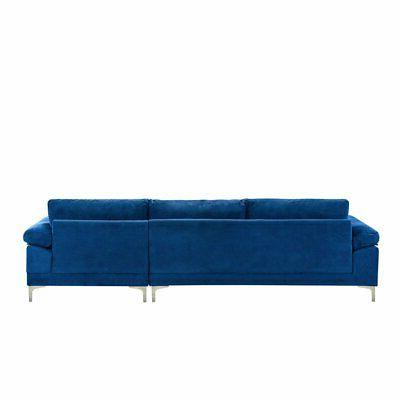 Modern Sectional Sofa, L-Shape Couch Extra Wide Navy Blue