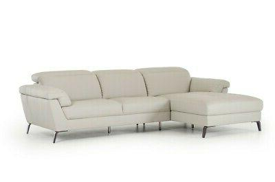 modern light grey leather 2pc sectional sofa