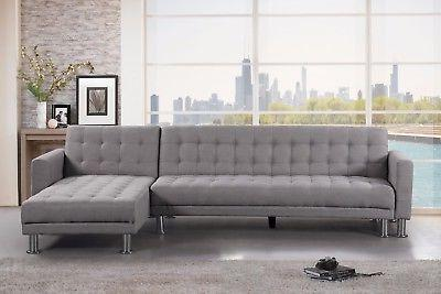 modern light grey polyester fabric chaise sectional