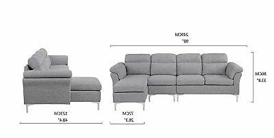 Modern Sectional Sofa, L-Shape Right Face Light