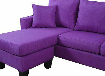 Modern Linen Fabric Small Space Reversible Chaise Purple
