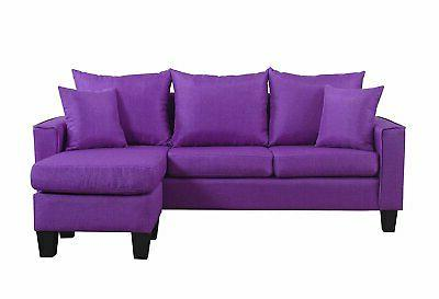 Modern Fabric Space Sectional Sofa Reversible Chaise
