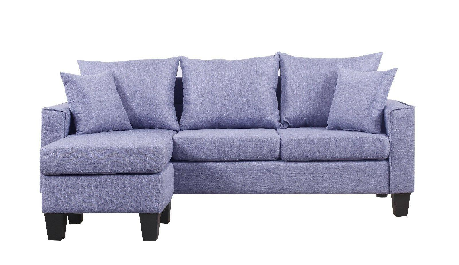 Modern Small Space Sectional Sofa Reversible Grey