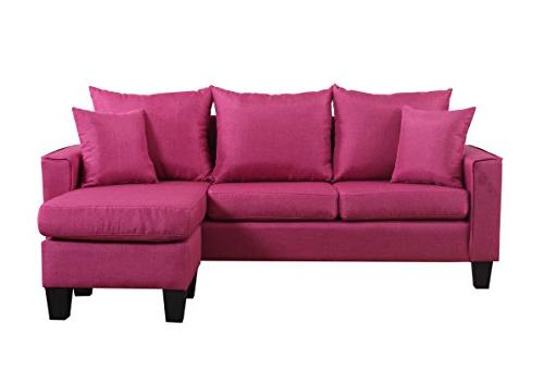 Divano Roma Linen Fabric Small Sectional Sofa with Chaise