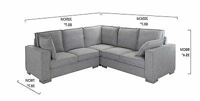 Modern Room Sectional L Couch w/ Grey