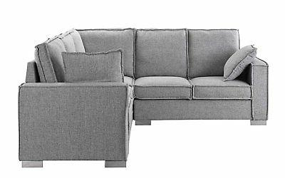 Modern Sectional Sofa, L Shape Couch w/ Pillows, Light Grey