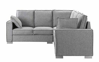 Modern Sectional L Couch Pillows, Grey