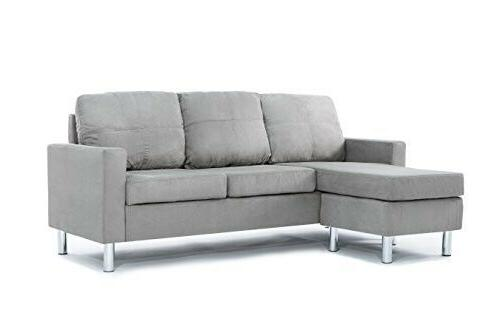 Divano Roma Furniture Modern Microfiber Sectional Sofa Small Space  Configurable