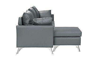 Modern PU Leather Sectional Sofa, Configurable Couch, Light Grey