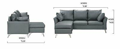 Modern PU Leather Sofa, Small Couch, Light