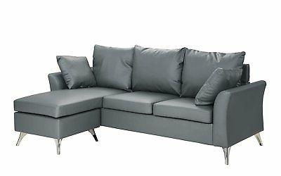 Modern PU Leather Sectional Sofa, Configurable Small Space