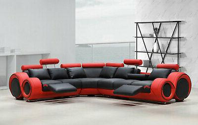 modern sectional living room black and red