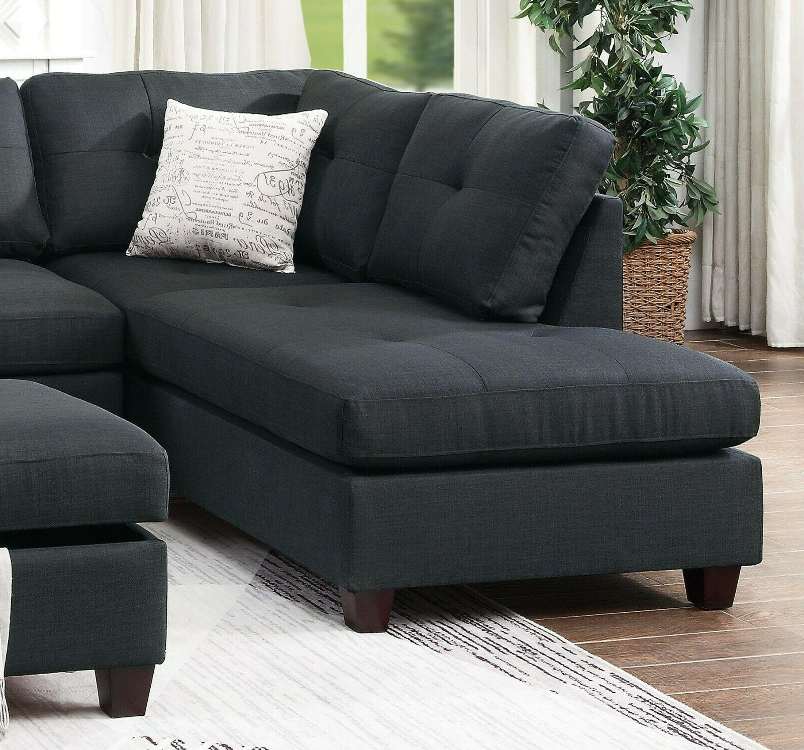 Modern L Shaped Couch Tufted Stud Arm Ottoman Ash Black