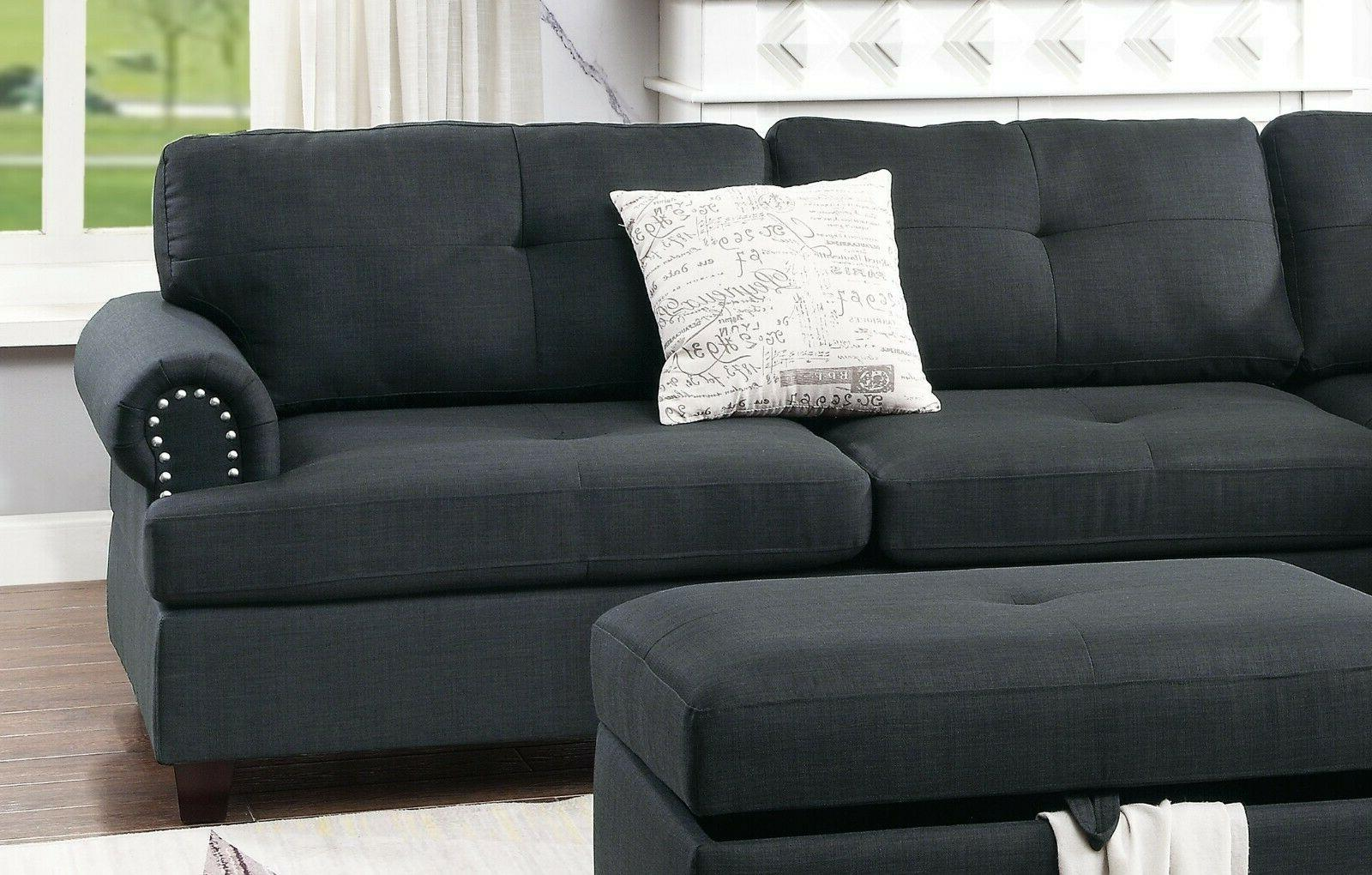 Modern Sectional Sofa Shaped Couch Tufted Stud Arm Ash Black
