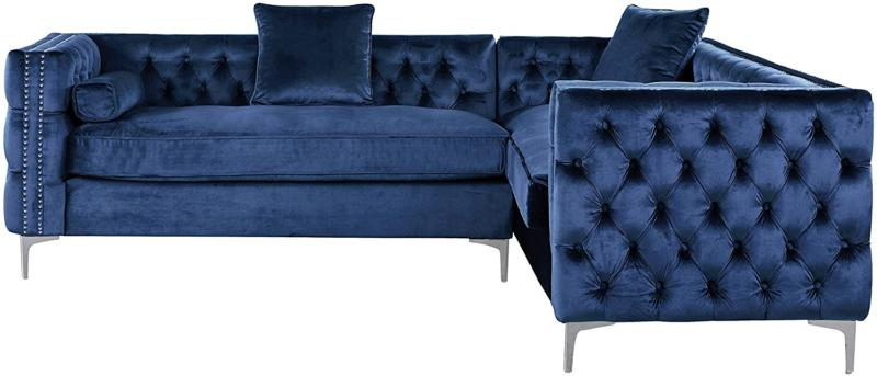 Iconic Home Left Hand Facing Sectional Sofa L Tufted