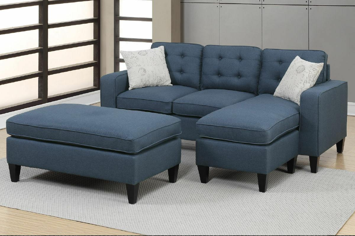 navy all in one sectional 3 pcs