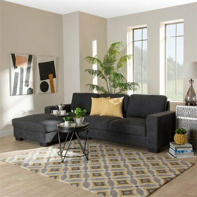 Baxton Studio Grey Sofa with Right Facing Chaise