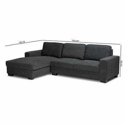 Baxton Studio Nevin Grey Sectional Right Facing Chaise