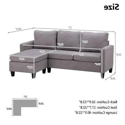 New Sectional Couch Back Gray