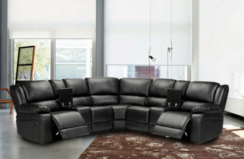 new motion sofa sectional black faux leather