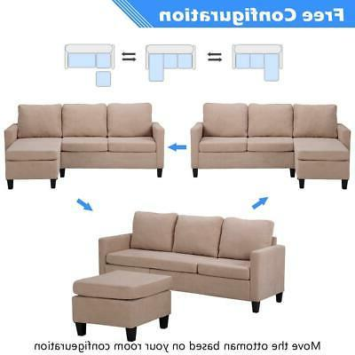New L-Shaped Couch for Small Beige US