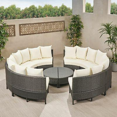 Newton Seater Round Wicker Sectional Cu