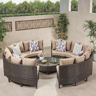 newton outdoor 8 seater round wicker sectional