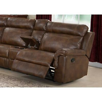 Nicole Reclining Leather Upholstered Sectional Brown Mission