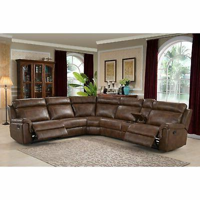 nicole reclining leather upholstered sectional sofa brown