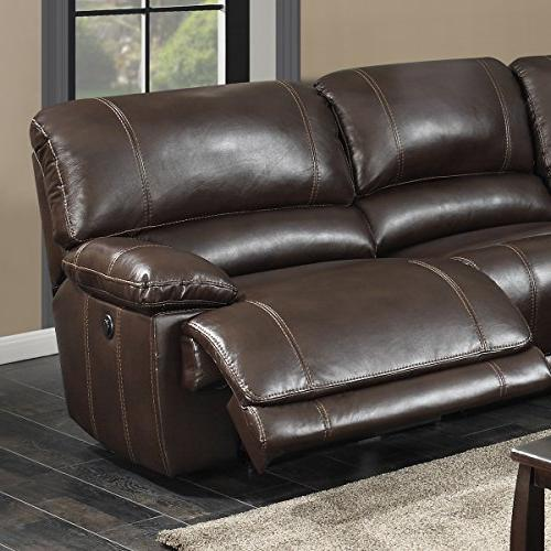 AC 6-Piece Sectional with Power and Charging Console Table, Holder, Dark