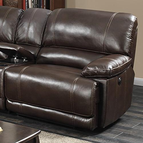 AC Pacific Transitional 6-Piece Sectional Power and Charging Storage Table, Holder, Dark