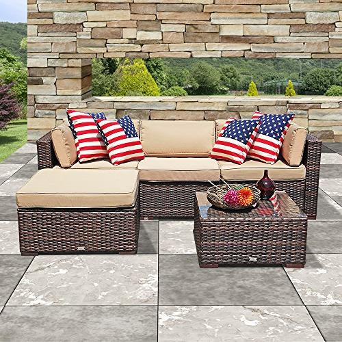 outdoor furniture sectional sofa set 5 piece