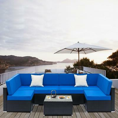 7pc outdoor patio sectional furniture pe wicker