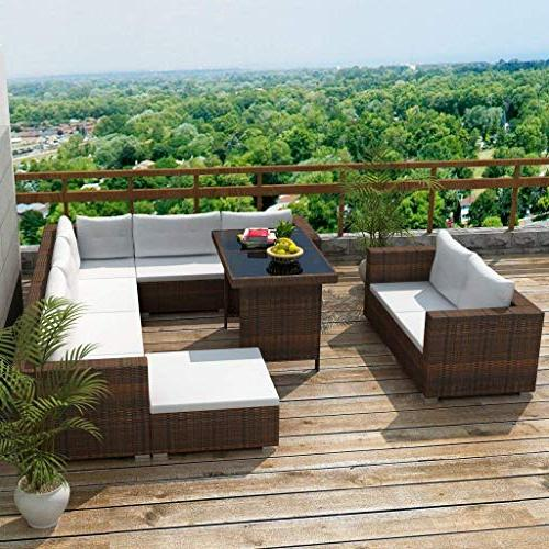 Festnight Dining Lounge Sectional Sofa Furniture Set with Cushions Gift, Brown