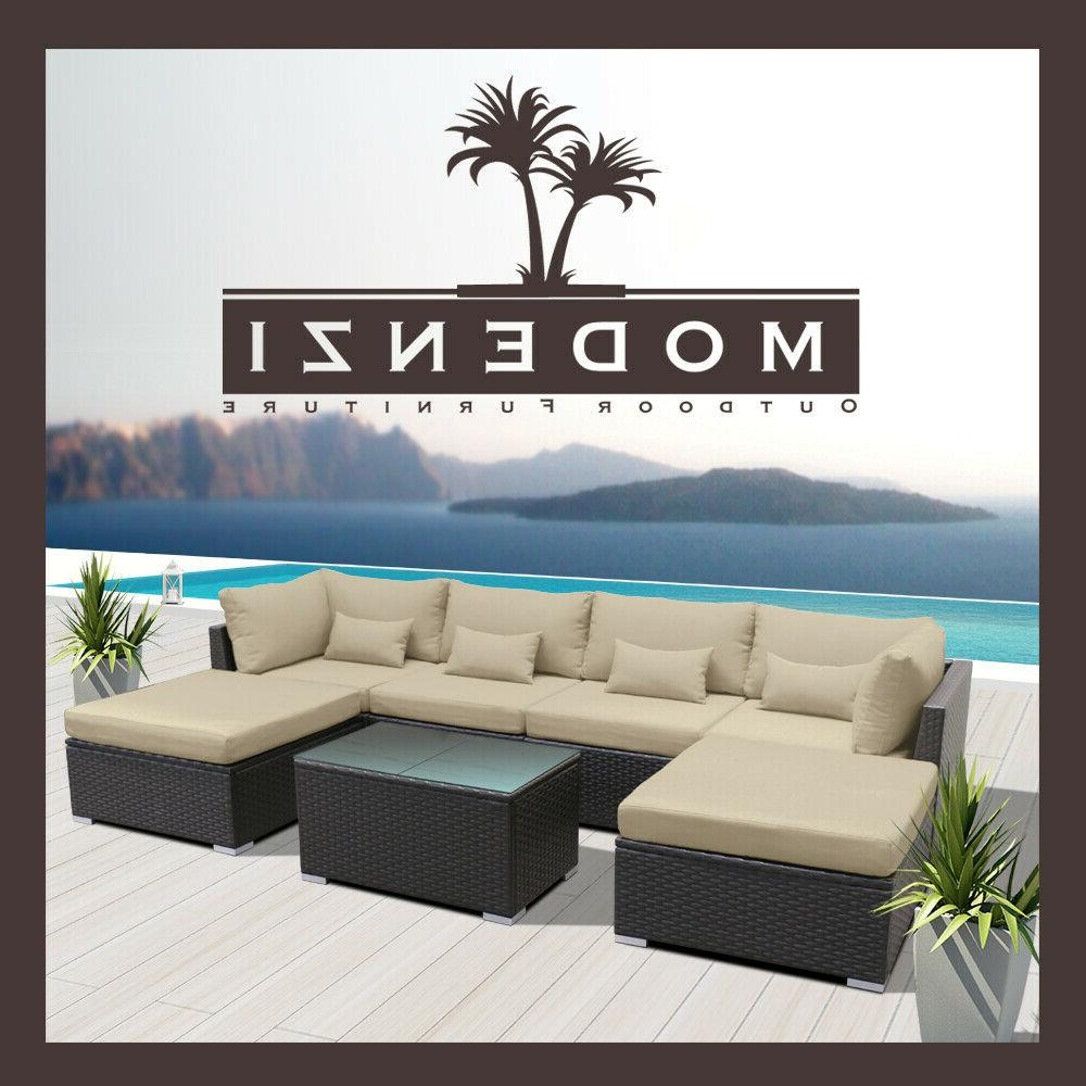 7pc Patio Furniture Sectional Chair Couch