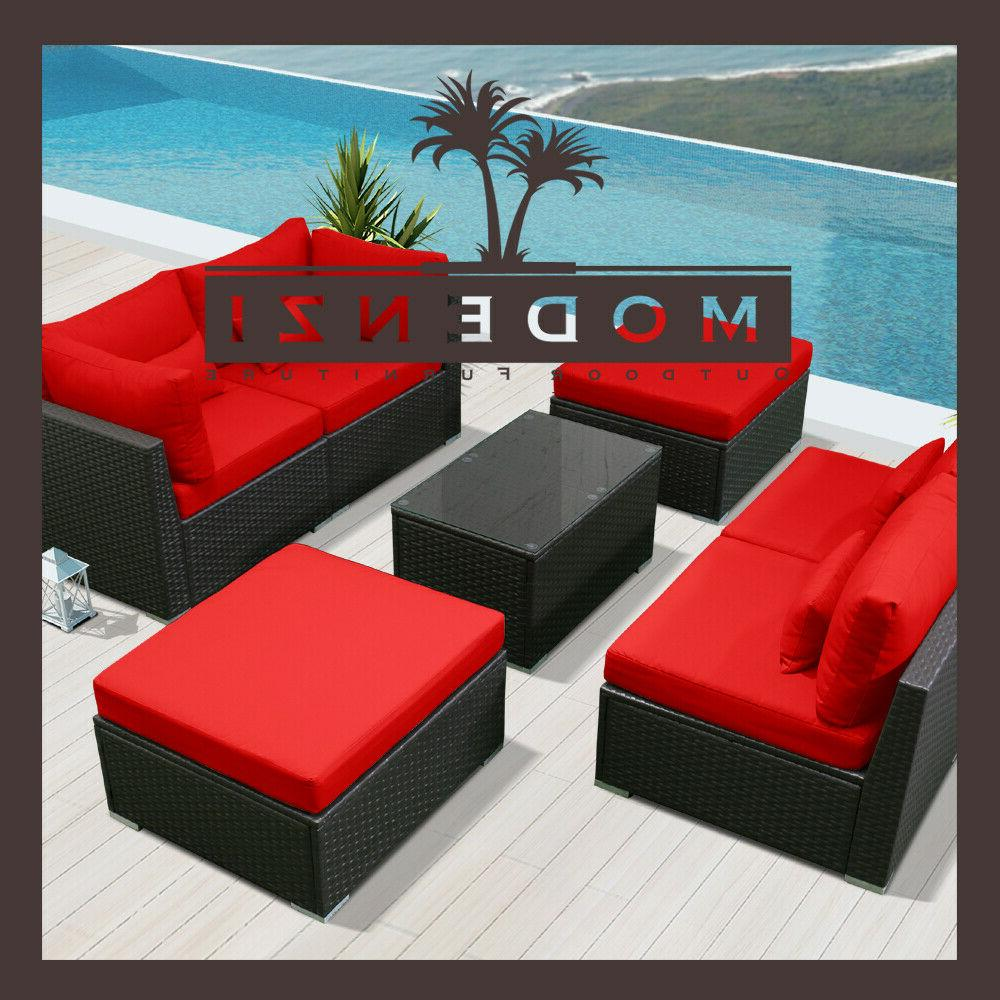 7pc Furniture Sectional Rattan Chair