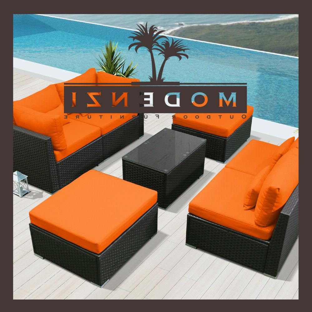 7pc Outdoor Patio Sectional Wicker Chair Set chaise