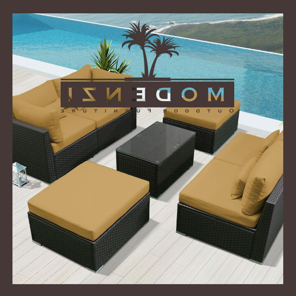 7pc Sectional Rattan Chair Couch Set chaise