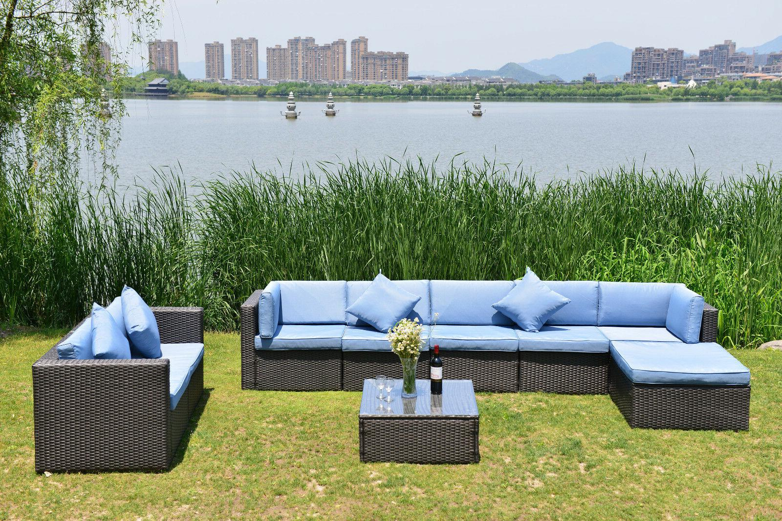 Patio Furniture Set Outdoor Wicker Cushioned Seat