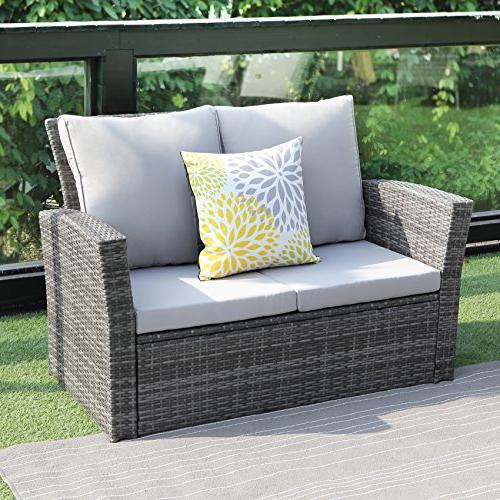 4 Outdoor Furniture Set,Wisteria Lawn Rattan Sofa Seat Wicker sectional Sofa Seat,Gray