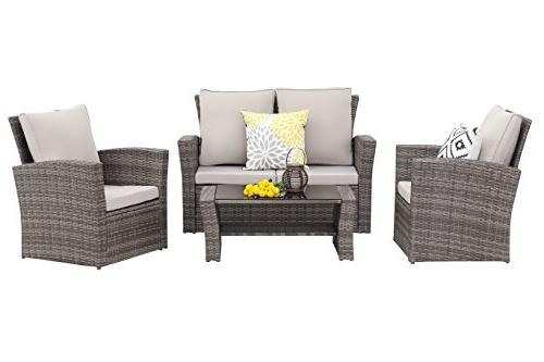 4 Patio Furniture Set,Wisteria Lawn Rattan Seat sectional Sofa Seat,Gray