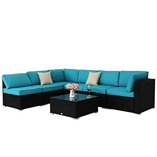 Peach Outdoor Wicker Sofa Set With