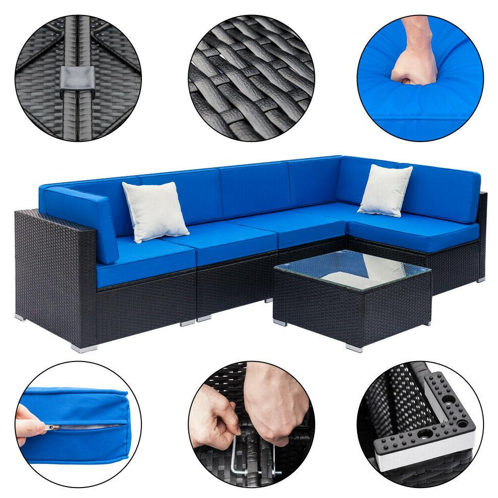 Patio Rattan Wicker Set Couch Outdoor Sofa & Table