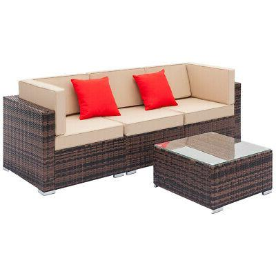 patio rattan wicker set garden sectional couch