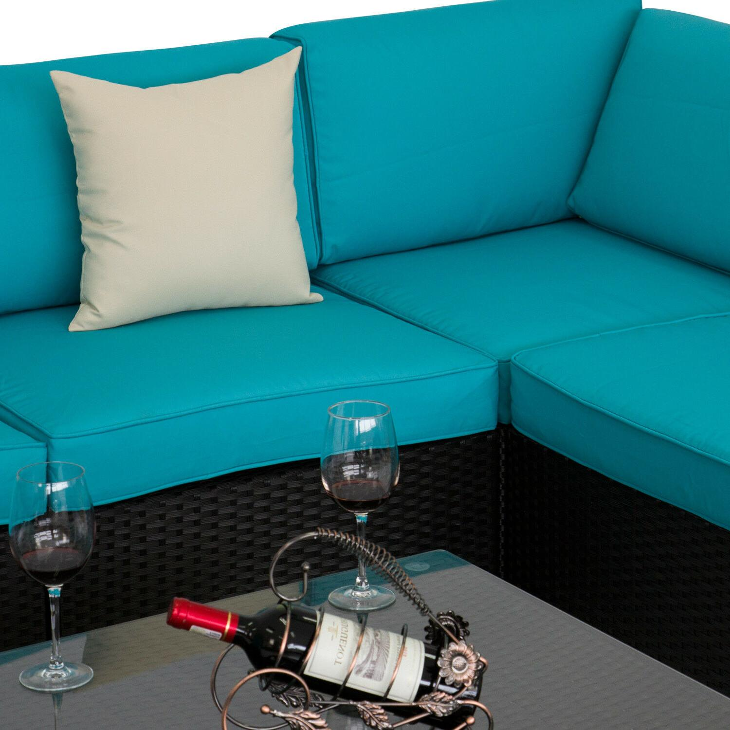 7PC Sofa Table Garden Sectional Furniture Blue