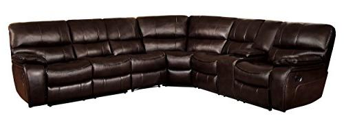 pecos reclining sectional sofa leather